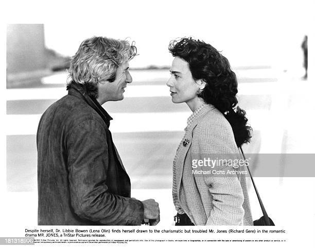 Actor Richard Gere and actress Lena Olin on the set of the Tri Star movie ' MrJones' in 1993