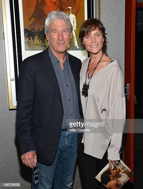 Actor Richard Gere and Carey Lowell attend the AMPAS screening of 'An Officer And A Gentleman' in celebration of Paramount Pictures 100th Anniversary...