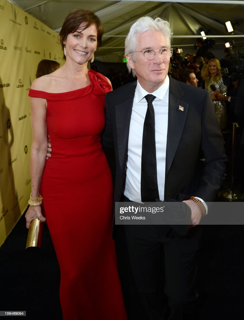 Actor <a gi-track='captionPersonalityLinkClicked' href=/galleries/search?phrase=Richard+Gere&family=editorial&specificpeople=202110 ng-click='$event.stopPropagation()'>Richard Gere</a> (R) and <a gi-track='captionPersonalityLinkClicked' href=/galleries/search?phrase=Carey+Lowell&family=editorial&specificpeople=211361 ng-click='$event.stopPropagation()'>Carey Lowell</a> attend The Weinstein Company's 2013 Golden Globe Awards after party presented by Chopard, HP, Laura Mercier, Lexus, Marie Claire, and Yucaipa Films held at The Old Trader Vic's at The Beverly Hilton Hotel on January 13, 2013 in Beverly Hills, California.