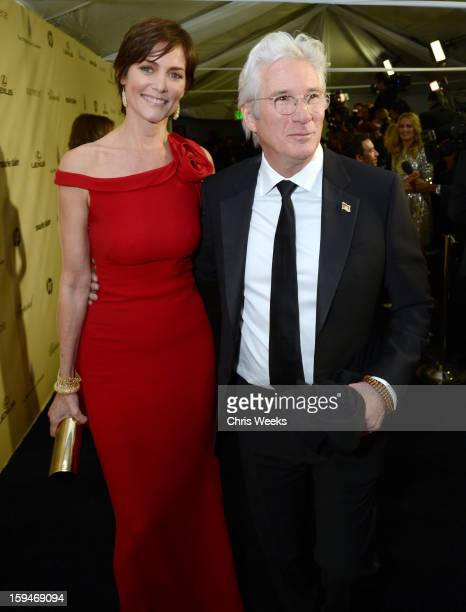 Actor Richard Gere and Carey Lowell attend The Weinstein Company's 2013 Golden Globe Awards after party presented by Chopard HP Laura Mercier Lexus...