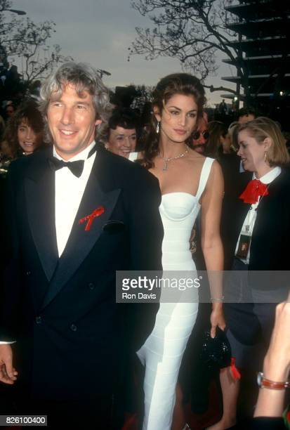 Actor Richard Gere and wife model Cindy Crawford attend the 65th Annual Academy Awards on March 29 1993 at the Dorothy Chandler Pavilion Music Center...