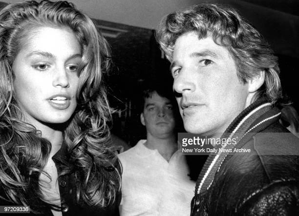 Actor Richard Gere arrives at Hard Rock Cafe with model friend Cindy Crawford for premiere party of his new movie 'Miles from Home' Flick features...