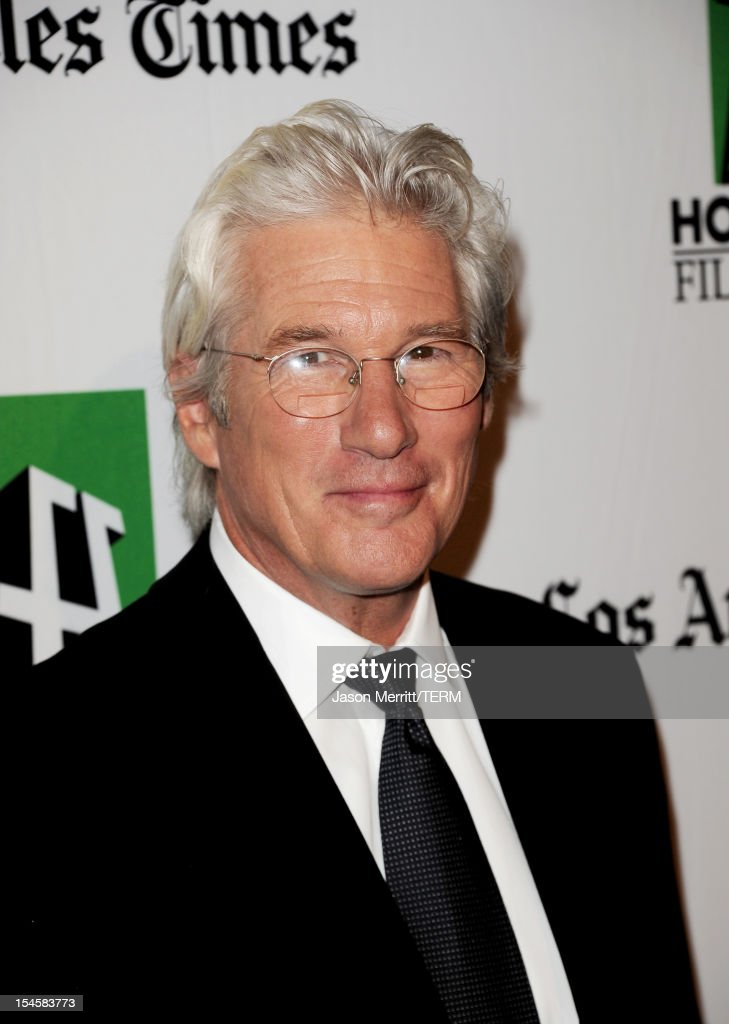 Actor <a gi-track='captionPersonalityLinkClicked' href=/galleries/search?phrase=Richard+Gere&family=editorial&specificpeople=202110 ng-click='$event.stopPropagation()'>Richard Gere</a> arrives at the 16th Annual Hollywood Film Awards Gala presented by The Los Angeles Times held at The Beverly Hilton Hotel on October 22, 2012 in Beverly Hills, California.