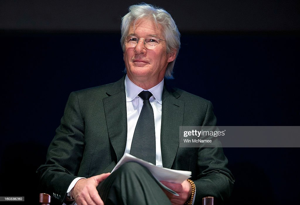 Actor <a gi-track='captionPersonalityLinkClicked' href=/galleries/search?phrase=Richard+Gere&family=editorial&specificpeople=202110 ng-click='$event.stopPropagation()'>Richard Gere</a> during a ceremony where Chinese human rights activist Chen Guangcheng was presented the Tom Lantos Human Rights Prize January 29, 2013 in Washington, DC. The Lantos Human Rights Prize is awarded each year and aims to raise awareness regarding human rights violations and the individuals dedicated to fighting them around the world.