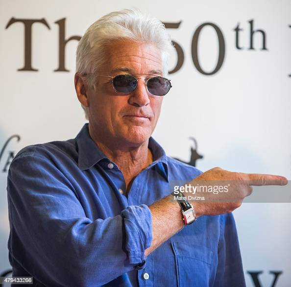 Actor Richard Gere poses for photograhers at the 50th Karlovy Vary International Film Festival on July 4 2015 in Karlovy Vary Czech Republic