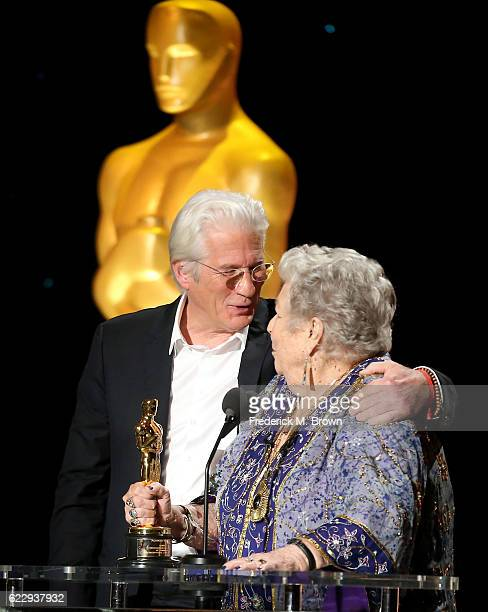 Actor Richard Gere presents an award to honoree Anne V Coates during the Academy of Motion Picture Arts and Sciences' 8th annual Governors Awards at...