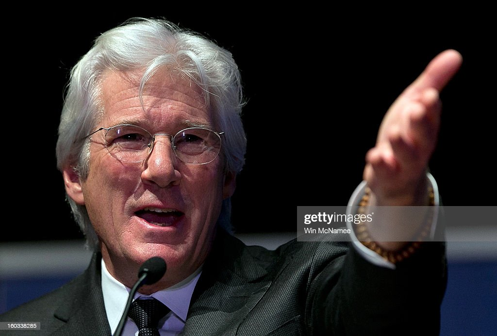 Actor Richard Gere speaks at a ceremony where Chinese human rights activist Chen Guangcheng was presented the Tom Lantos Human Rights Prize January 29, 2013 in Washington, DC. The Lantos Human Rights Prize is awarded each year and aims to raise awareness regarding human rights violations and the individuals dedicated to fighting them around the world.