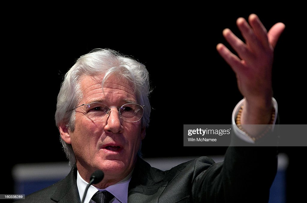 Actor <a gi-track='captionPersonalityLinkClicked' href=/galleries/search?phrase=Richard+Gere&family=editorial&specificpeople=202110 ng-click='$event.stopPropagation()'>Richard Gere</a> speaks at a ceremony where Chinese human rights activist Chen Guangcheng was presented the Tom Lantos Human Rights Prize January 29, 2013 in Washington, DC. The Lantos Human Rights Prize is awarded each year and aims to raise awareness regarding human rights violations and the individuals dedicated to fighting them around the world.