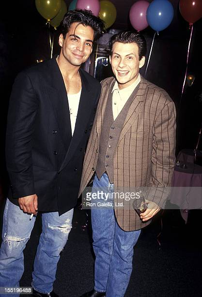 Actor Richard Grieco and actor Christian Slater attend the 'If Looks Could Kill' Premiere Party on March 9 1991 at The Roxbury in West Hollywood...