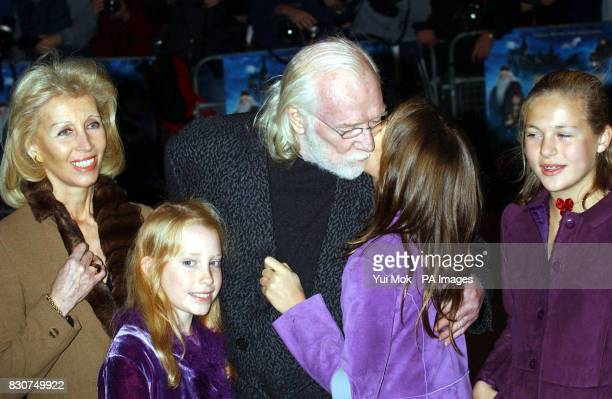 Actor Richard Harris who plays the character Professor Albus Dumbledore in the film arrives with his family for the world premiere of 'Harry Potter...