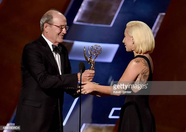 Actor Richard Jenkins accepts Outstanding Lead Actor in a Limited Series or Movie award for 'Olive Kitteridge' from singer/actress Lady Gaga onstage...