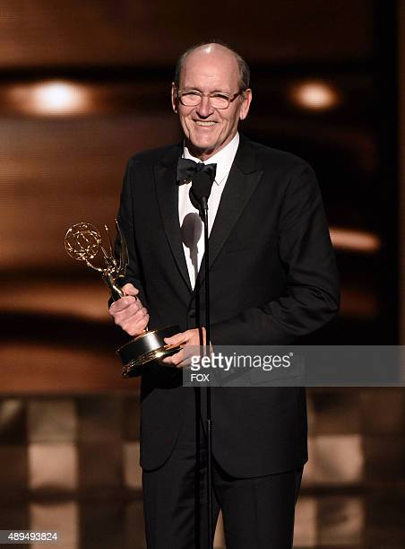 Actor Richard Jenkins accepts the Outstanding Lead Actor in a Limited Series or Movie award for 'Olive Kitteridge' onstage during the 67th Annual...
