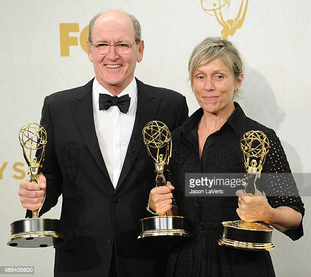 Actor Richard Jenkins and actress Frances McDormand pose in the press room at the 67th annual Primetime Emmy Awards at Microsoft Theater on September...
