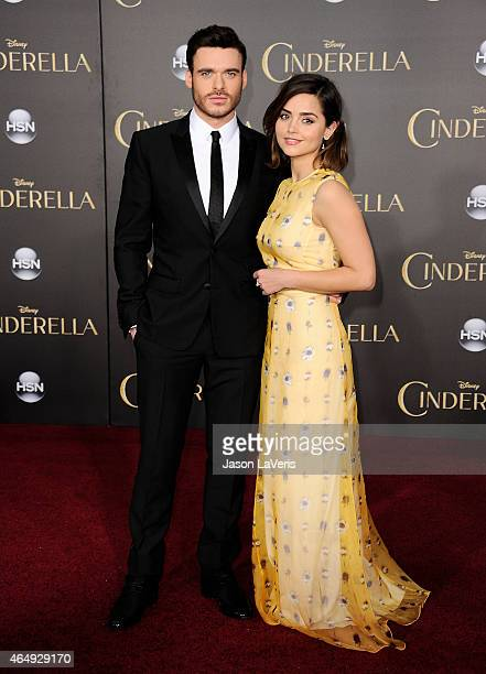 Actor Richard Madden and actress Jenna Coleman attend the premiere of 'Cinderella' at the El Capitan Theatre on March 1 2015 in Hollywood California