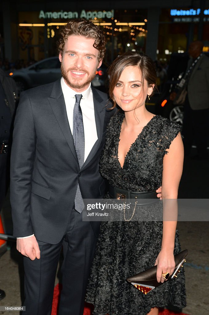 Actor <a gi-track='captionPersonalityLinkClicked' href=/galleries/search?phrase=Richard+Madden&family=editorial&specificpeople=8954998 ng-click='$event.stopPropagation()'>Richard Madden</a> and actress Jenna-Louise Coleman arrives to HBO's 'Game Of Thrones' Los Angeles Premiere at TCL Chinese Theatre on March 18, 2013 in Hollywood, California.