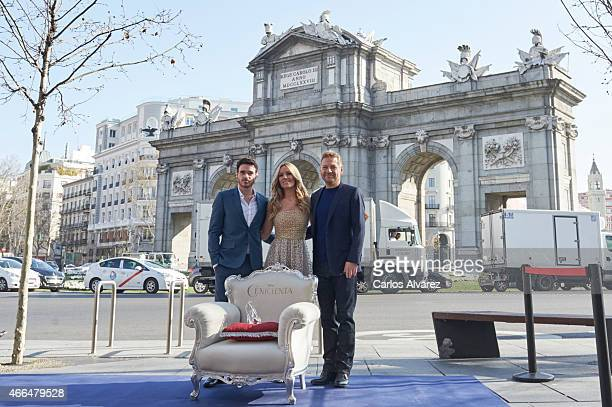 Actor Richard Madden Spanish singer Edurne and director Kenneth Branagh attend 'Cenicienta' photocall on March 16 2015 in Madrid Spain