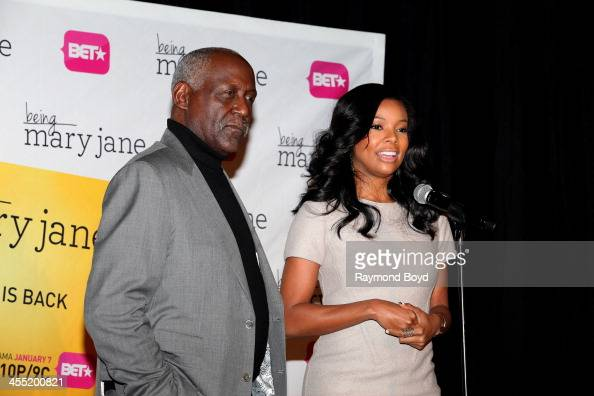 Actor Richard Roundtree and actress Gabrielle Union speaks to the media during a luncheon and exclusive advanced screening in celebration of their...
