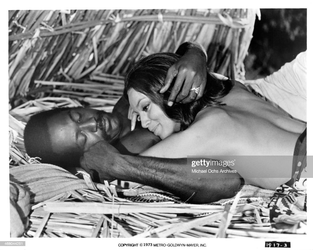 Actor Richard Roundtree and actress Vonetta McGee on set of the movie 'Shaft in Africa ' circa 1973