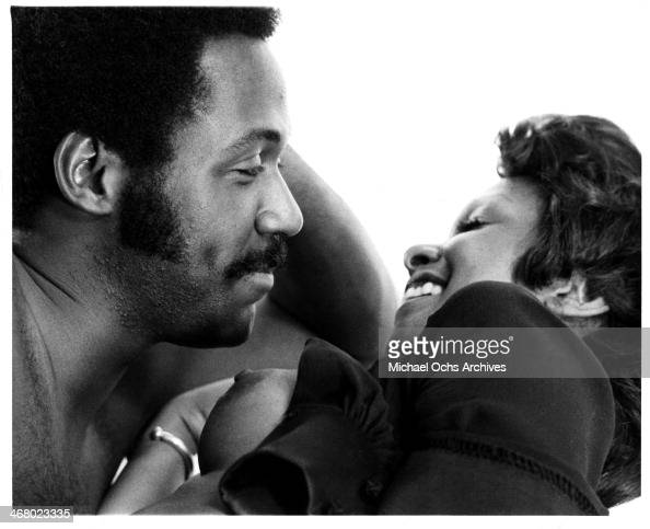 Actor Richard Roundtree and Kathy Imrie on set of the movie 'Shaft's Big Score' circa 1972