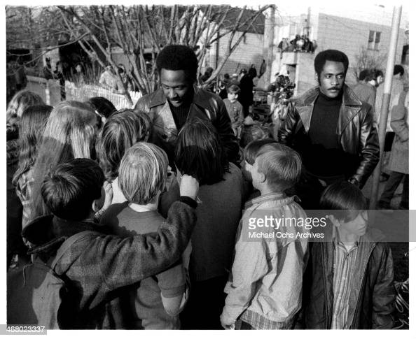 Actor Richard Roundtree and stunt double on set of the movie 'Shaft's Big Score' circa 1972