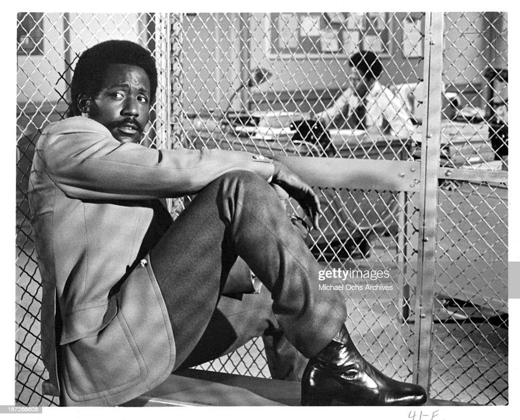 Actor Richard Roundtree on set for the TV series' Shaft' as John Shaft Circa 1973