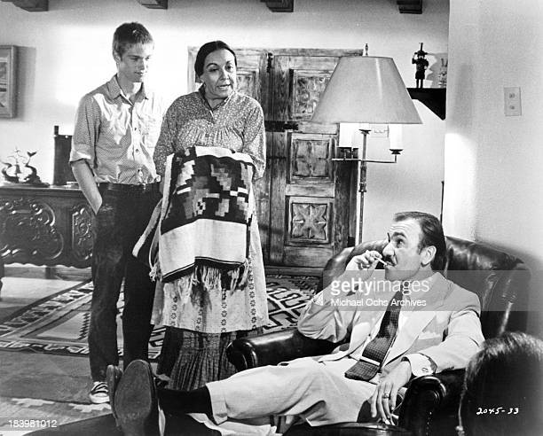 Actor Richard Thomas actress Alma Beltran and actor John Colicos on the set of the Universal Pictures movie 'Red Sky at Morning' in 1971