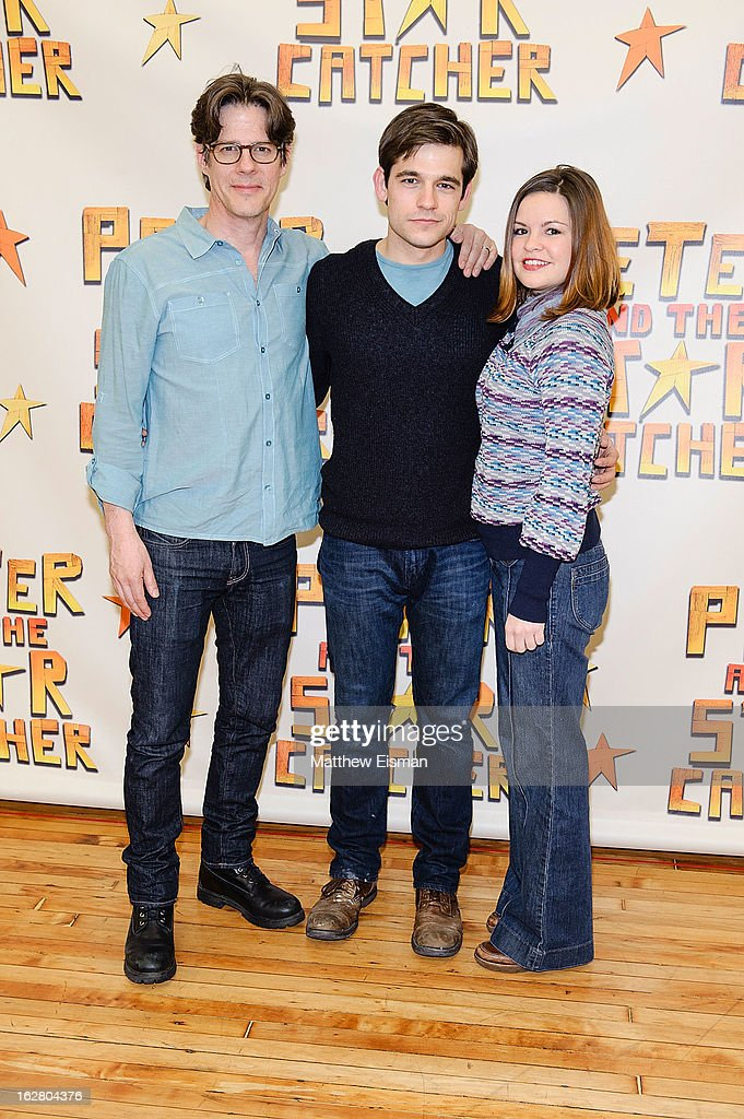 Actor Rick Holmes, actor Jason Ralph and actress Nicole Lowrance attend the press preview of new cast of 'Peter And The Starcatcher' at Gibney Dance Center on February 27, 2013 in New York City.