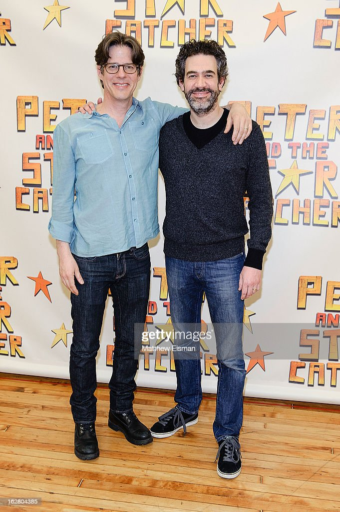 Actor Rick Holmes (L) and Kevin Del Aguila attend the press preview of new cast of 'Peter And The Starcatcher' at Gibney Dance Center on February 27, 2013 in New York City.