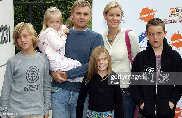 Actor Rick Schroder poses with his family wife Andrea Bernard and their children Luke Faith Anne Cambrie and Holden at the Nickelodeon Presents...