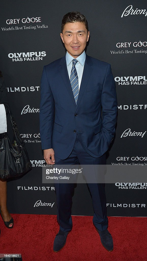 Actor Rick Yune attends Brioni Sponsors Film District's World Premiere Of 'Olympus Has Fallen' ArcLight Cinemas on March 18, 2013 in Hollywood, California.