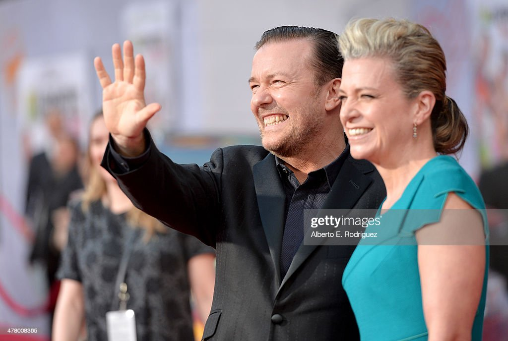 Actor <a gi-track='captionPersonalityLinkClicked' href=/galleries/search?phrase=Ricky+Gervais&family=editorial&specificpeople=209237 ng-click='$event.stopPropagation()'>Ricky Gervais</a> (L) and author <a gi-track='captionPersonalityLinkClicked' href=/galleries/search?phrase=Jane+Fallon&family=editorial&specificpeople=645298 ng-click='$event.stopPropagation()'>Jane Fallon</a> arrive at the world premiere of Disney's 'Muppets Most Wanted' at the El Capitan Theatre on March 11, 2014 in Hollywood, California.