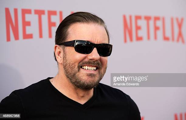 Actor Ricky Gervais arrives at a special For Your Consideration screening and QA of Netflix's 'Derek' at Paramount Studios on April 8 2015 in...