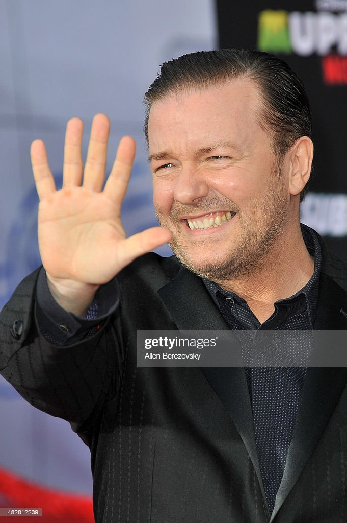 Actor <a gi-track='captionPersonalityLinkClicked' href=/galleries/search?phrase=Ricky+Gervais&family=editorial&specificpeople=209237 ng-click='$event.stopPropagation()'>Ricky Gervais</a> arrives at the Los Angeles premiere of 'Muppets Most Wanted' at the El Capitan Theatre on March 11, 2014 in Hollywood, California.
