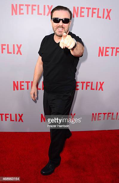 Actor Ricky Gervais arrives for the screening of Netflix's 'Derek' at Paramount Studios on April 8 2015 in Hollywood California