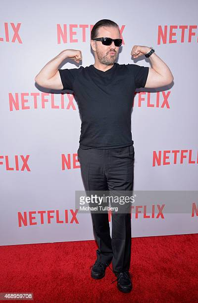 Actor Ricky Gervais attends a screening of Netflix's film 'Derek' at Paramount Studios on April 8 2015 in Hollywood California