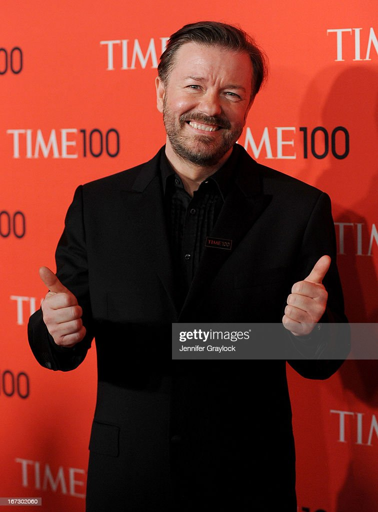 Actor <a gi-track='captionPersonalityLinkClicked' href=/galleries/search?phrase=Ricky+Gervais&family=editorial&specificpeople=209237 ng-click='$event.stopPropagation()'>Ricky Gervais</a> attends the 2013 Time 100 Gala at Frederick P. Rose Hall, Jazz at Lincoln Center on April 23, 2013 in New York City.