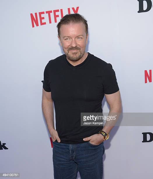 Actor Ricky Gervais attends the Academy Screening Of Netflix Series 'Derek' Season 2 Premiere at Leonard H Goldenson Theatre on May 27 2014 in North...