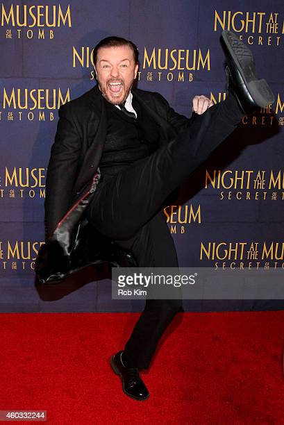 Actor Ricky Gervais attends the 'Night At The Museum Secret Of The Tomb' New York Premiere at Ziegfeld Theater on December 11 2014 in New York City