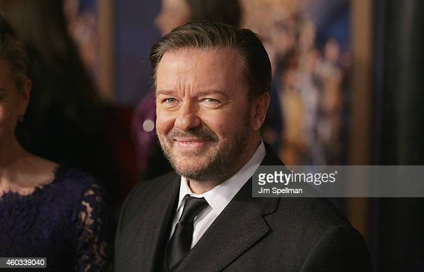 Actor Ricky Gervais attends the Night At The Museum Secret Of The Tomb' New York premiere at the Ziegfeld Theater on December 11 2014 in New York City