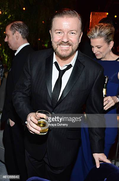 Actor Ricky Gervais attends The Weinstein Company Netflix's 2015 Golden Globes After Party presented by FIJI Water Lexus Laura Mercier and Marie...