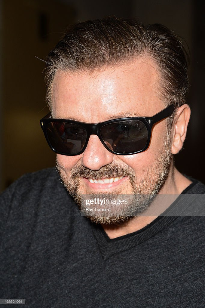 Actor Ricky Gervais leaves the 'Today Show' taping at the NBC Rockefeller Center Studios on June 3, 2014 in New York City.