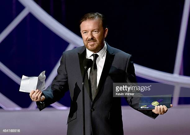 Actor Ricky Gervais speaks onstage at the 66th Annual Primetime Emmy Awards held at Nokia Theatre LA Live on August 25 2014 in Los Angeles California