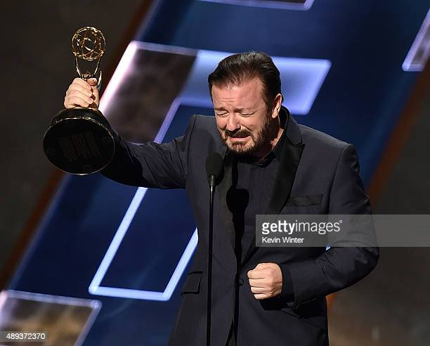 Actor Ricky Gervais speaks onstage during the 67th Annual Primetime Emmy Awards at Microsoft Theater on September 20 2015 in Los Angeles California