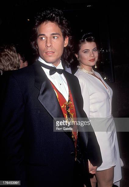 Actor Ricky Paull Goldin and actress Yasmine Bleeth attend the Eighth Annual Soap Opera Digest Awards on January 10 1992 at the Beverly Hilton Hotel...
