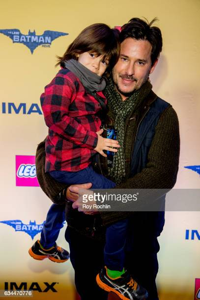 Actor Ricky Paull Goldin and son Kai Rei Goldin attend 'The Lego Batman Movie' New York Screening at AMC Loews Lincoln Square 13 on February 9 2017...