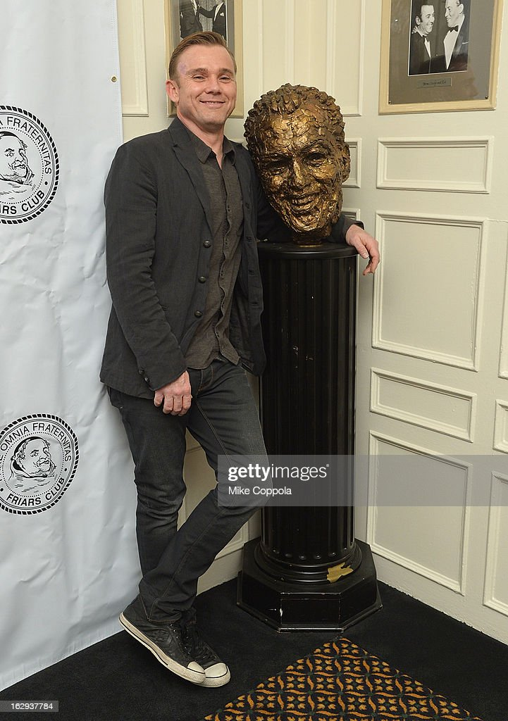 Actor Ricky Schroder poses for a picture with a bust of Ed Sullivan at The Friars Club: 'So You Think You Can Roast?' Celebrating Ricky Schroder at New York Friars Club on March 1, 2013 in New York City.