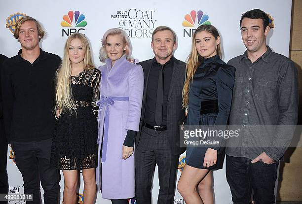 Actor Ricky Schroder wife Andrea Bernard Schroder and children arrive at the premiere of Warner Bros Television's 'Dolly Parton's Coat Of Many...
