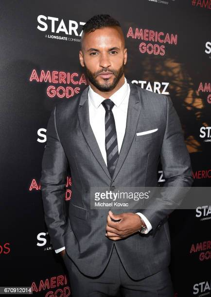 Actor Ricky Whittle attends the 'American Gods' premiere at ArcLight Hollywood on April 20 2017 in Los Angeles California