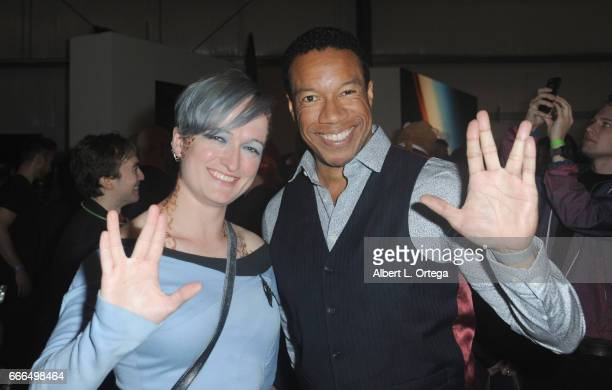 Actor Rico E Anderson and Anna Yeutter attend Yuri's Night LA held on April 8 2017 in Los Angeles California