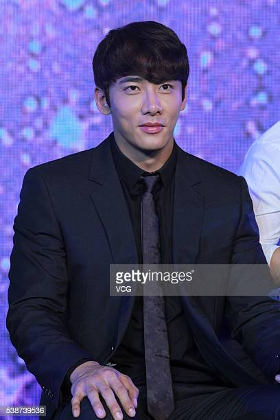 Actor Rico Hyunho from South Korea attends the booting ceremony of Chinese TV series Fighter Of The Destiny at 22nd Shanghai TV Festival on June 7...